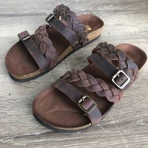 NWT White Mountain Footbeds Leather Sandals Brown